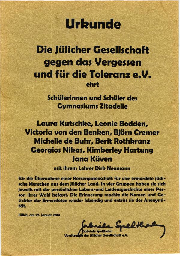 Urkunde der Jülicher Gesellschaft gegen das Vergessen und für die Toleranz e.V.