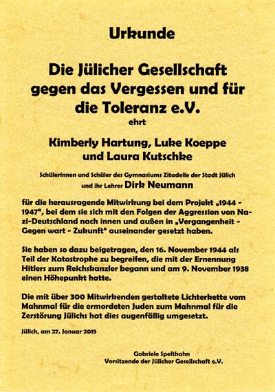 Ehrungsurkunde 2015 der Jülicher Gesellschaft gegen das Vergessen und für die Toleranz e.V.