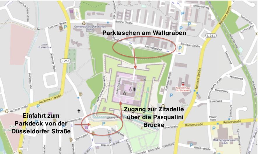 Anfahrt und Parkmöglichkeiten für Besucher der Zitadelle.